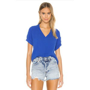 Nation LTD. Karina Blue V Neck Gauze Tee